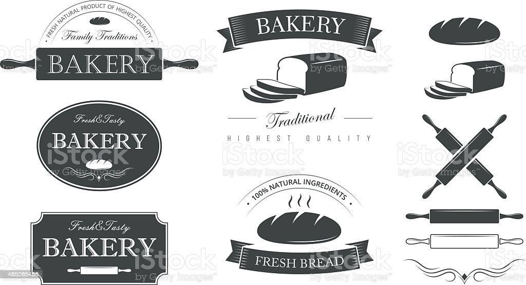 Bakery set vector art illustration