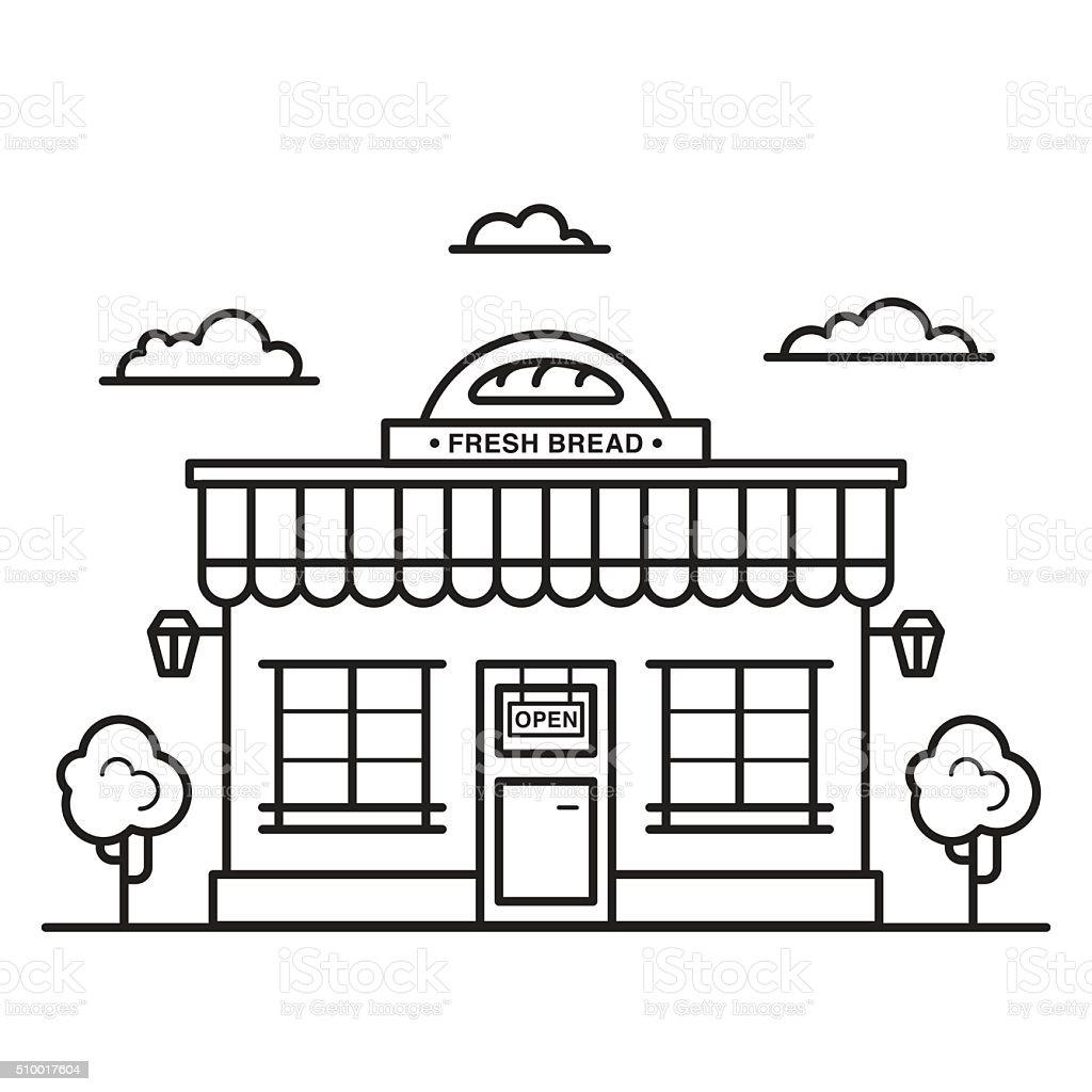 Bakery shop building vector art illustration