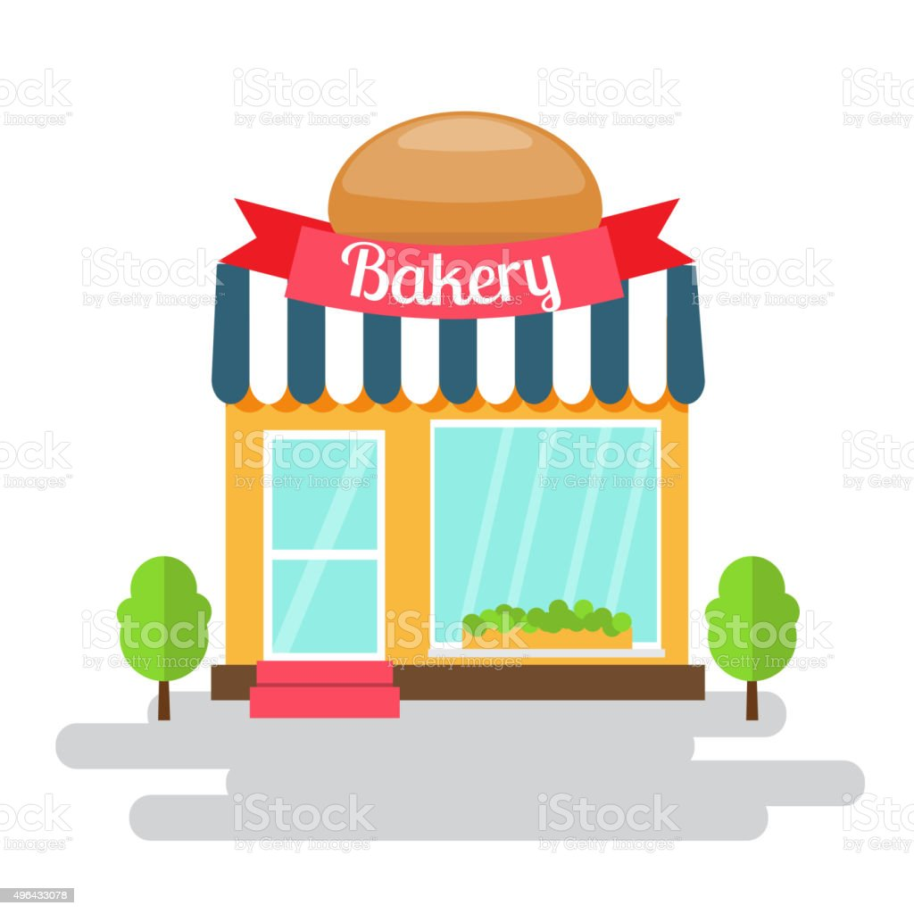 Bakery shop of flat style building. Vector illustration. vector art illustration
