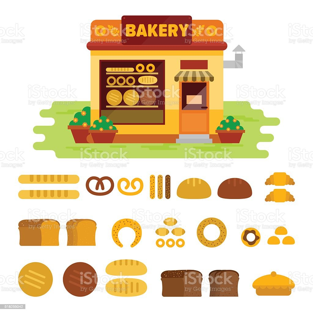 Bakery shop on the street with bread icon set vector art illustration