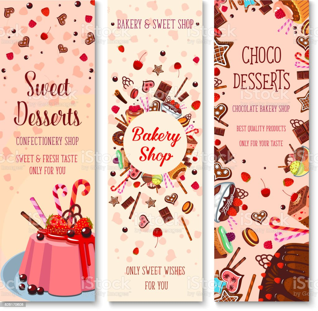 Bakery shop pies and pastry cakes vector banners vector art illustration