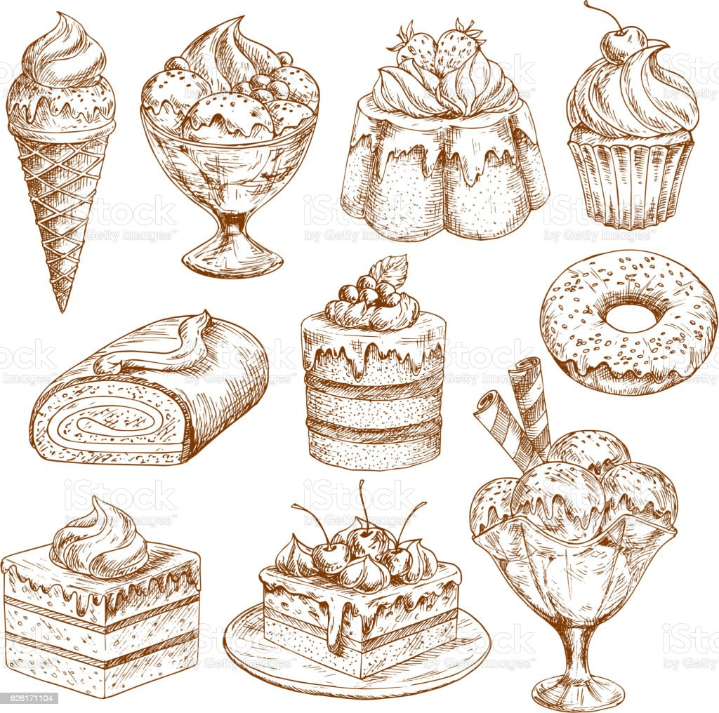 Bakery shop sketch icons of vector pastry desserts vector art illustration