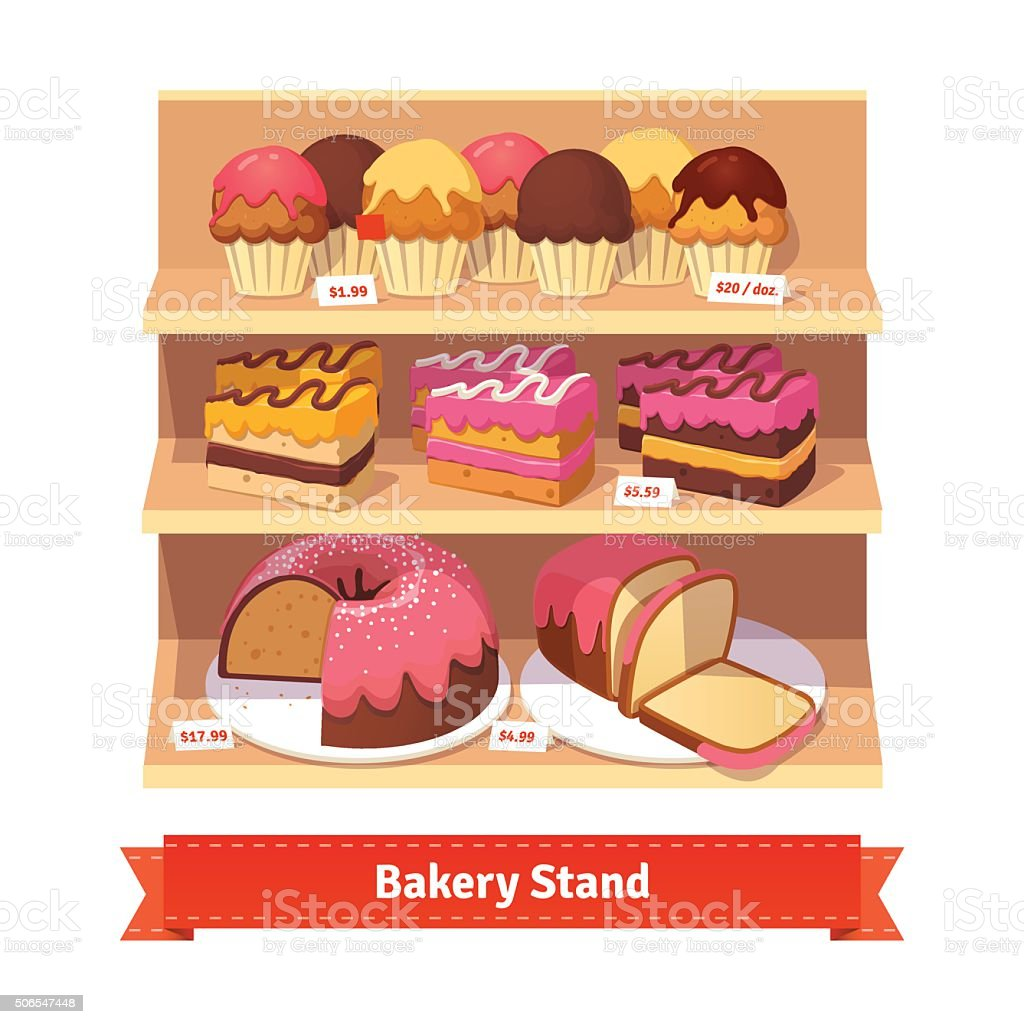 Bakery shop stand with sweet desserts vector art illustration