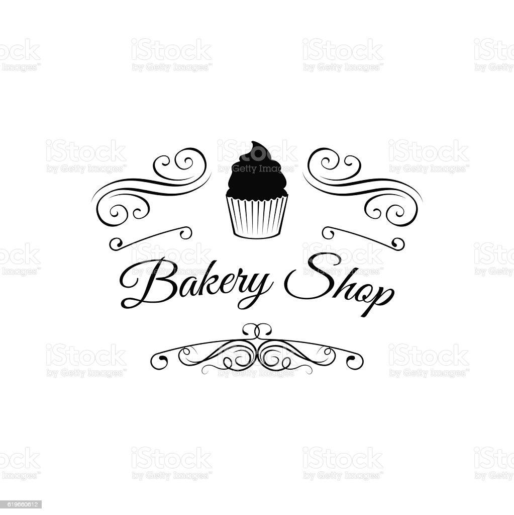 Bakery Shop. vintage label with chocolate cupcake. filigree ornate frame. vector art illustration