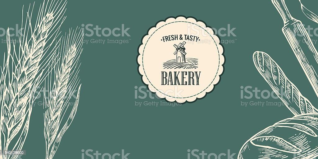 Bakery sketch.  Ears, rolls, pastries, bread, baguette, rolling pin. vector art illustration