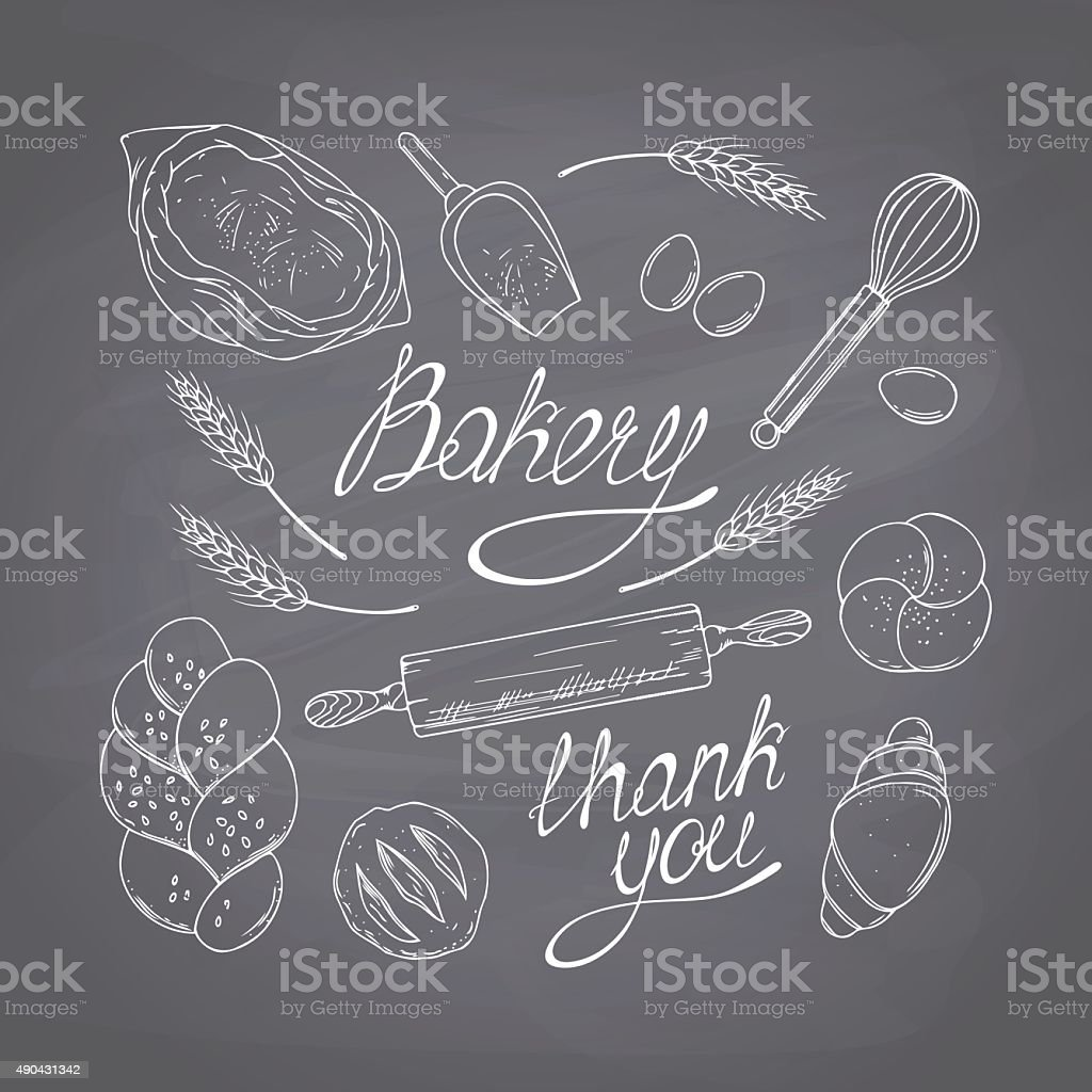 Bakery sketched objects. Hand drawn groceries goods collection. Chalk style vector art illustration