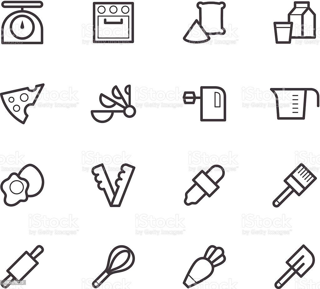 bakery tools black icon set on white background vector art illustration