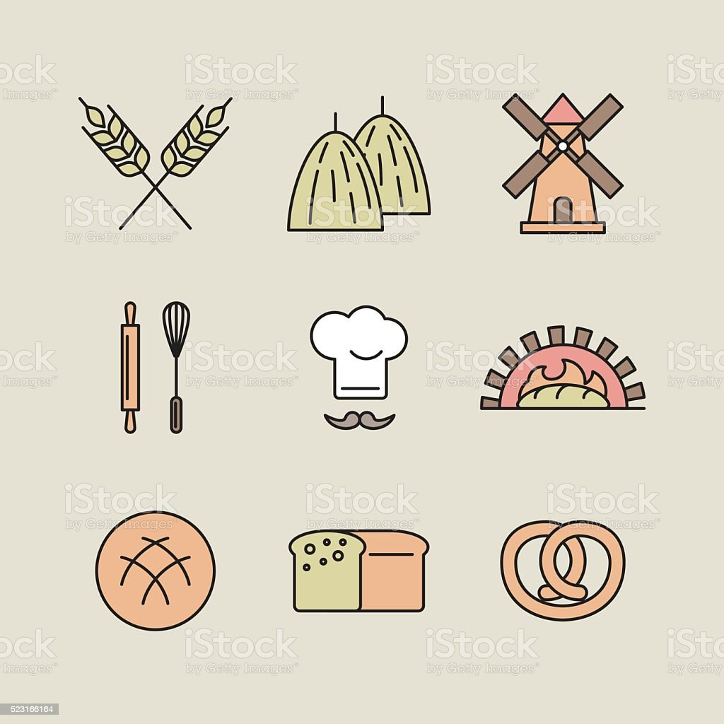 Bakery vector icons vector art illustration