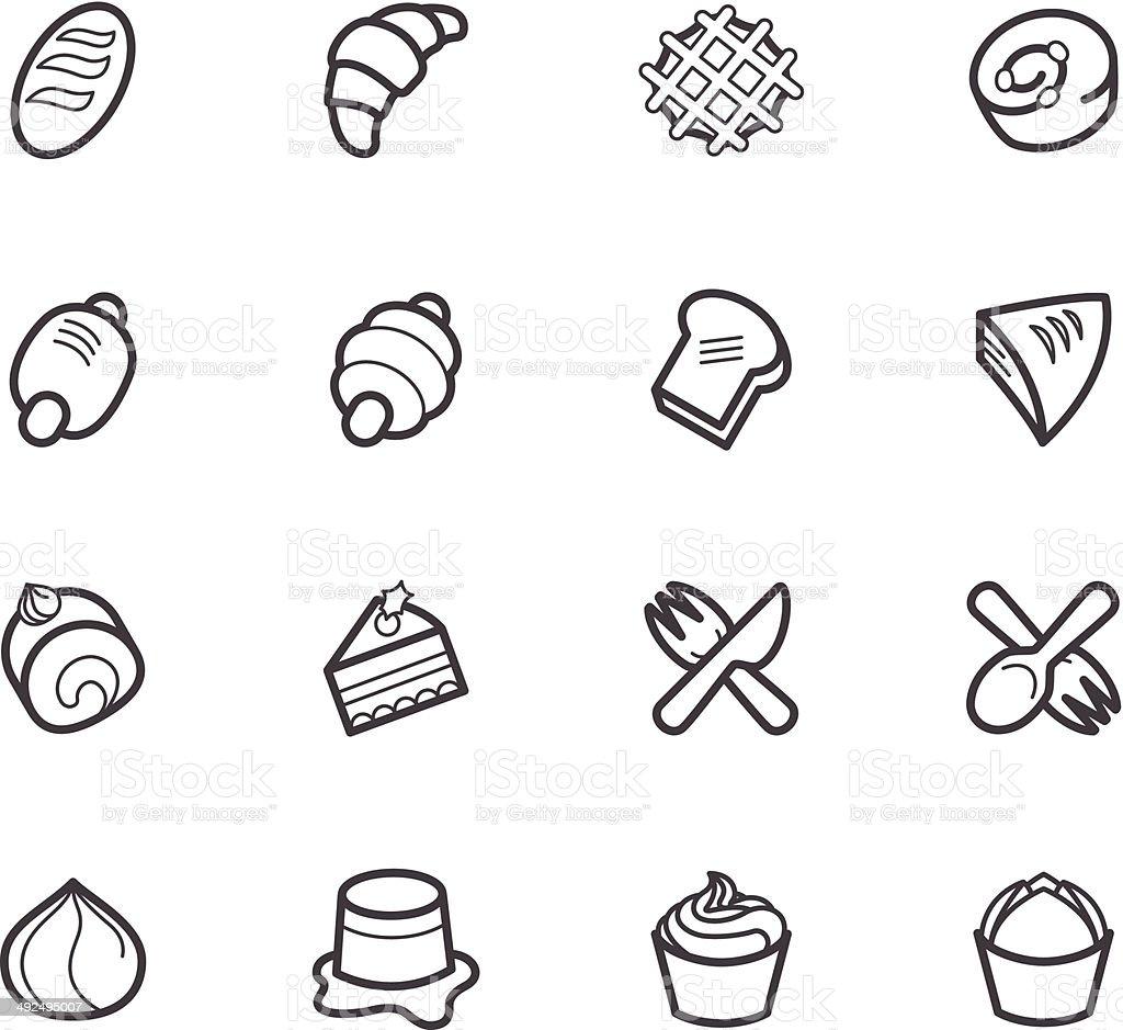 bakery_popular_vector_icon_set_on_white_background vector art illustration