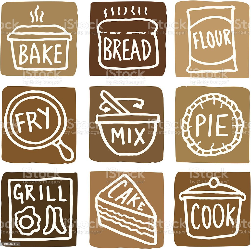Baking and cooking icons block icon set vector art illustration