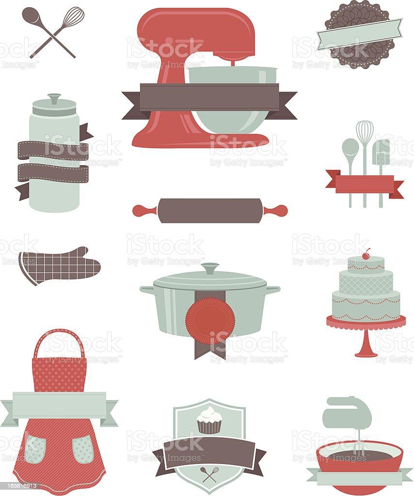 Baking and Kitchen Design Elements vector art illustration