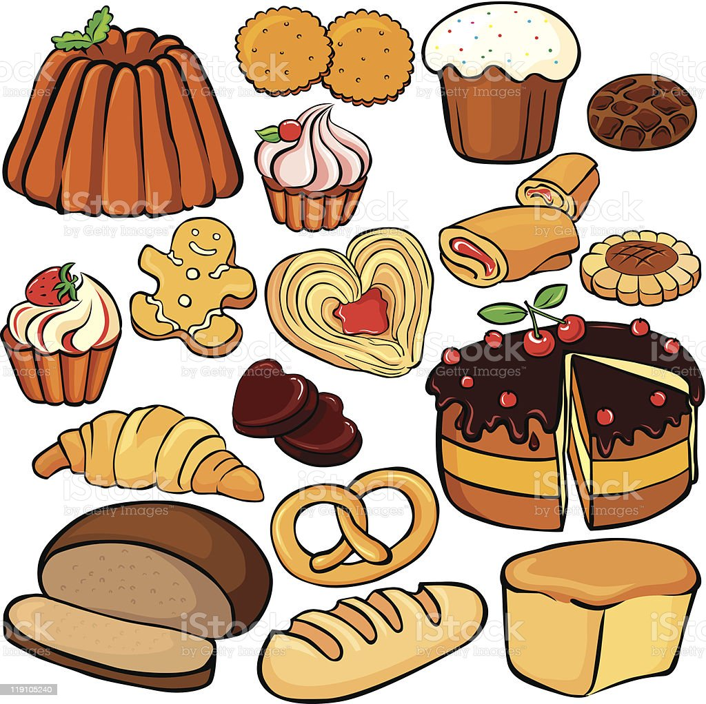 Baking and sweets icon set royalty-free stock vector art