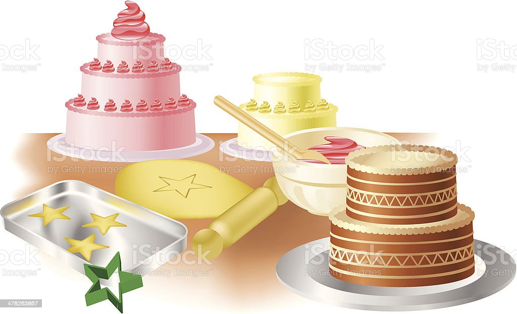 Baking cakes and cookies vector art illustration