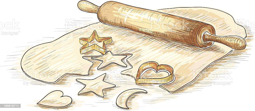 Baking cookies vector art illustration