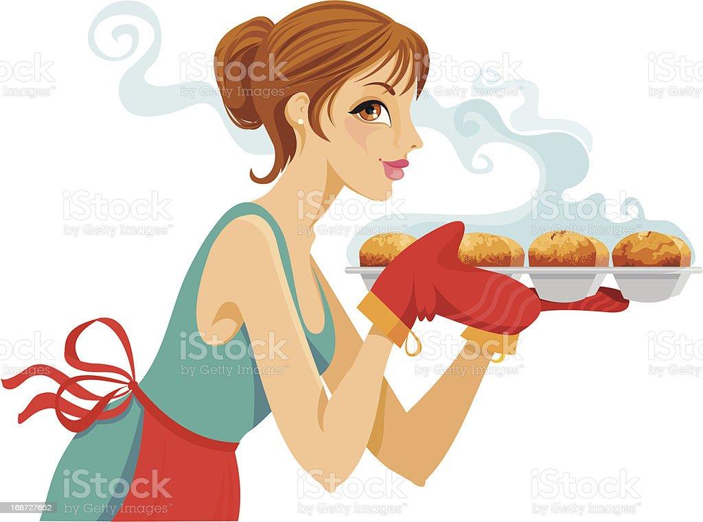 Baking Cupcakes vector art illustration