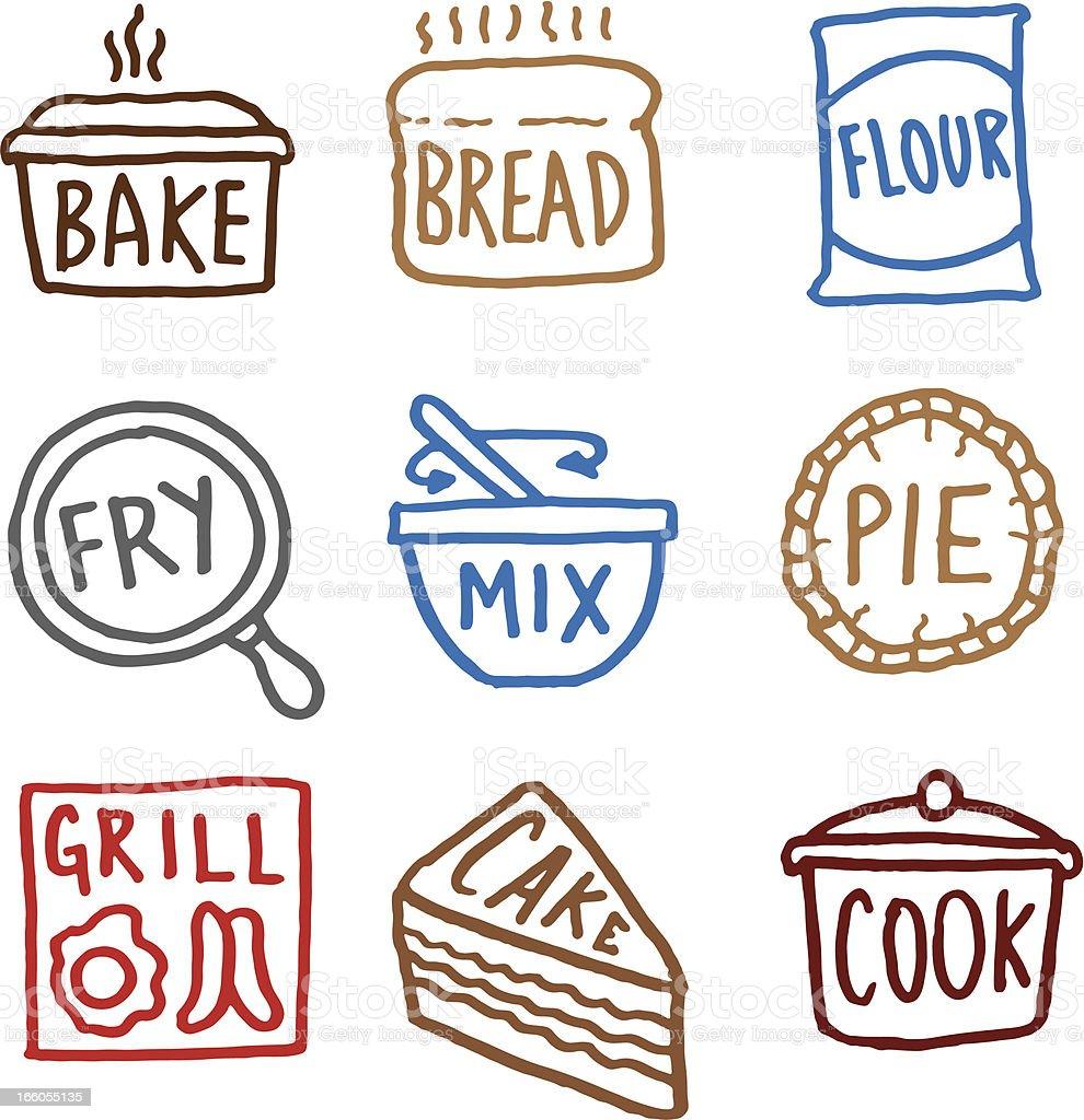 Baking doodle icon set vector art illustration