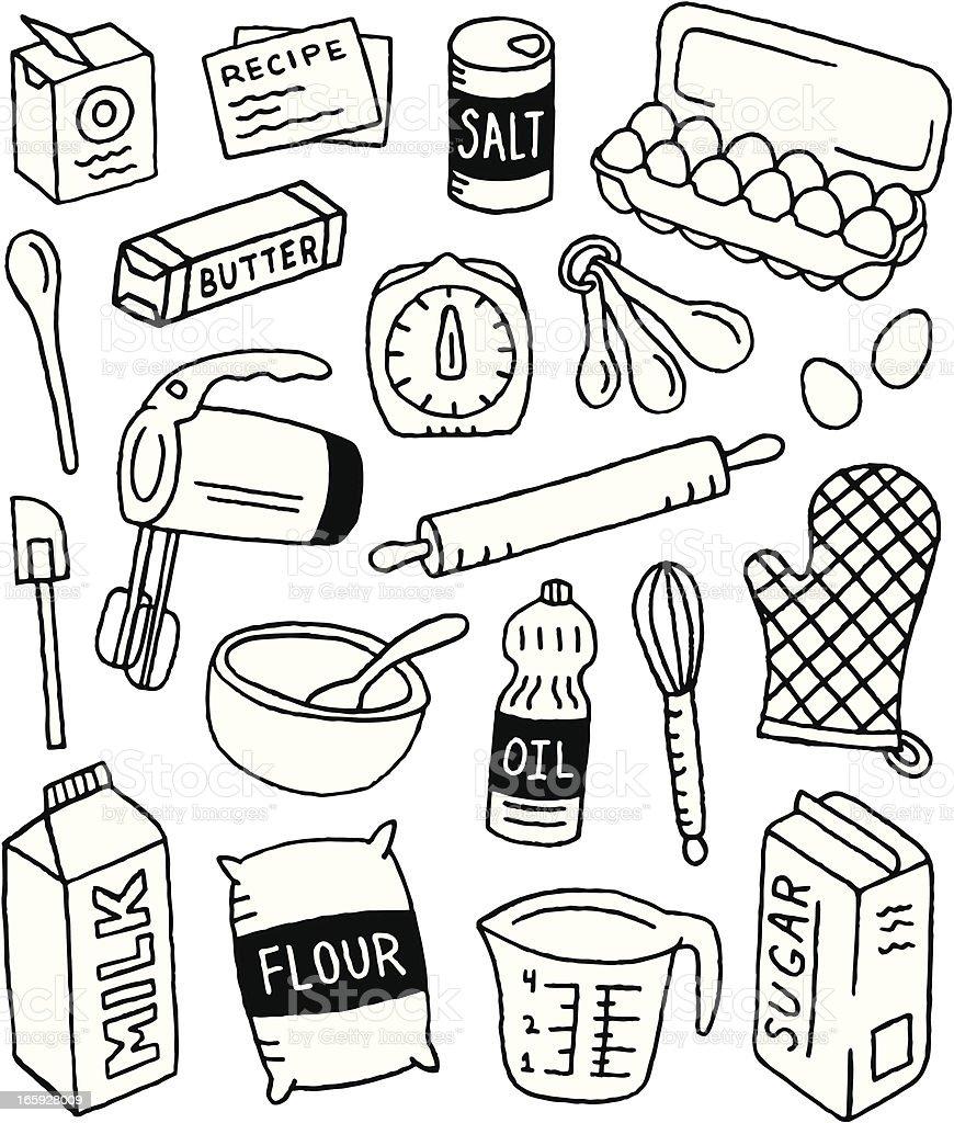 Baking Doodles royalty-free stock vector art