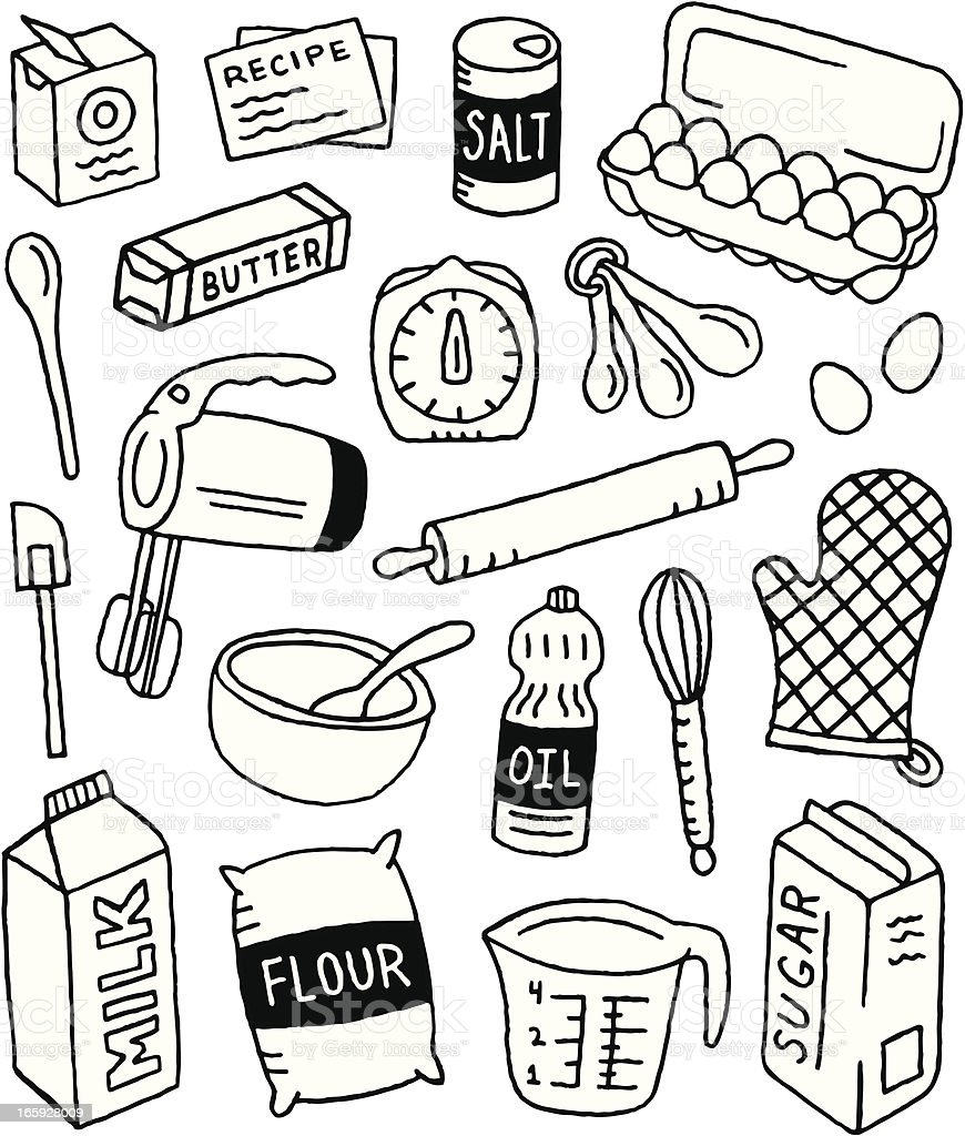 Baking Doodles vector art illustration