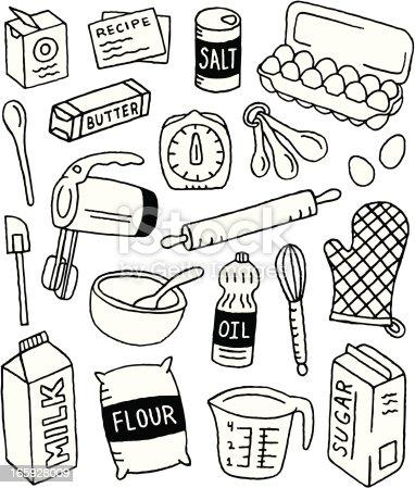 Baking doodles stock vector art 165928009 istock - Ustencil de cuisine ...