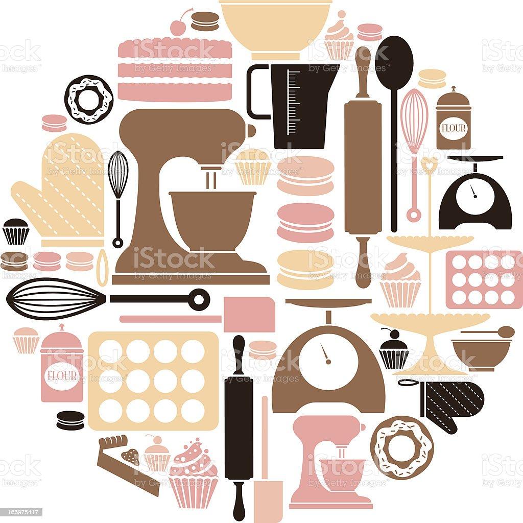 Baking icon Set vector art illustration