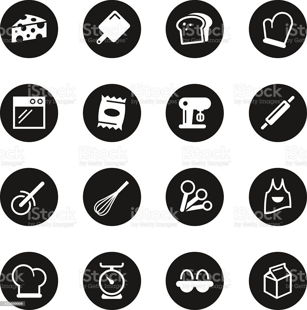 Baking Icons - Black Circle Series vector art illustration
