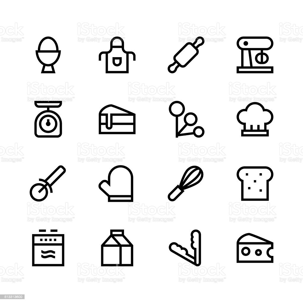 Baking icons - line - black series vector art illustration