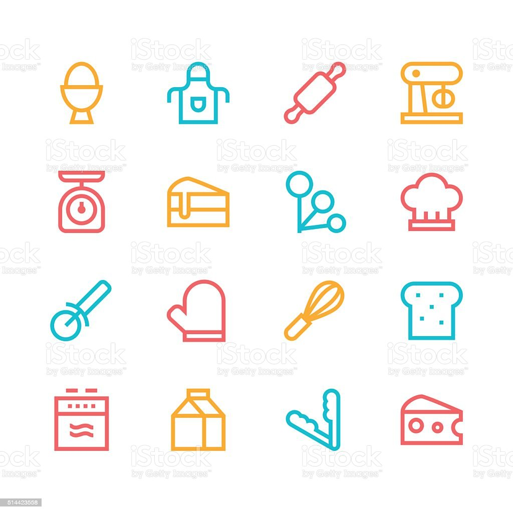 Baking icons - line - color series vector art illustration
