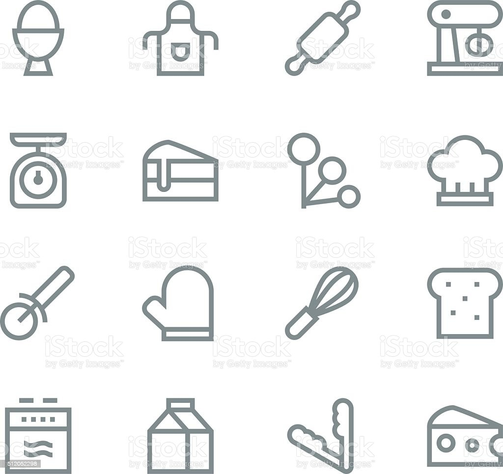 Baking icons - line vector art illustration