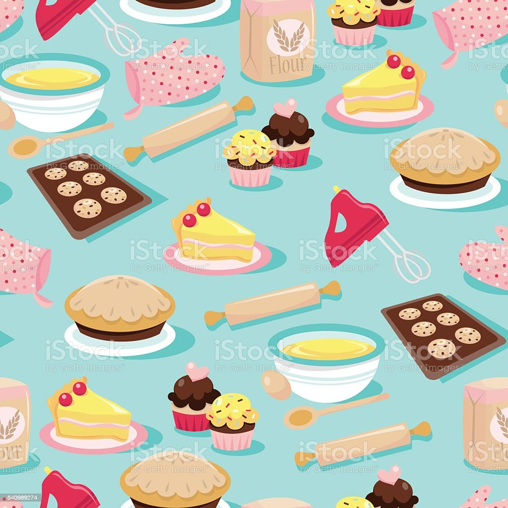 Baking Icons Seamless Pattern Background vector art illustration