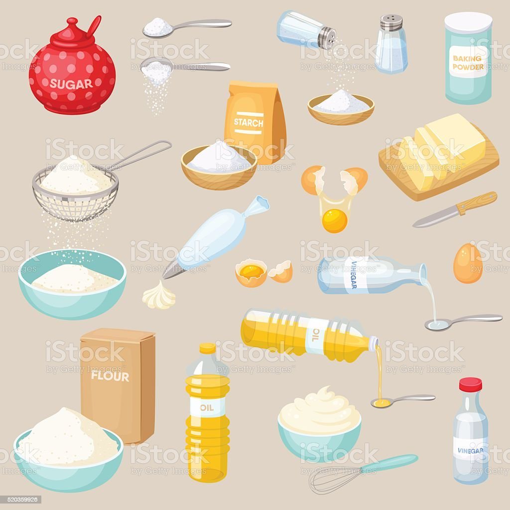Baking ingredients set vector art illustration