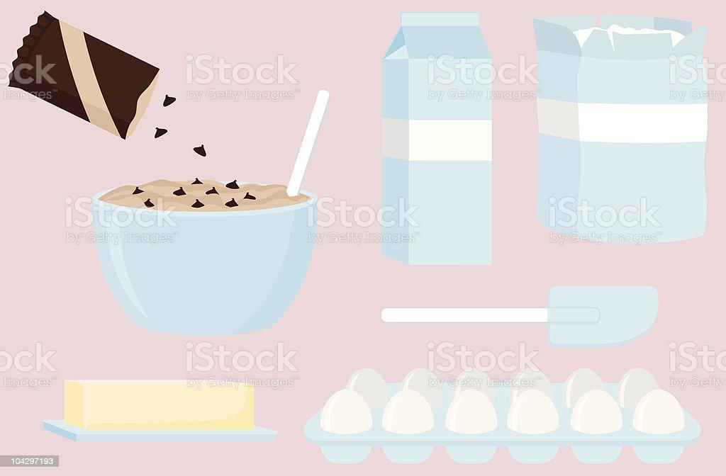 Baking Ingredients vector art illustration