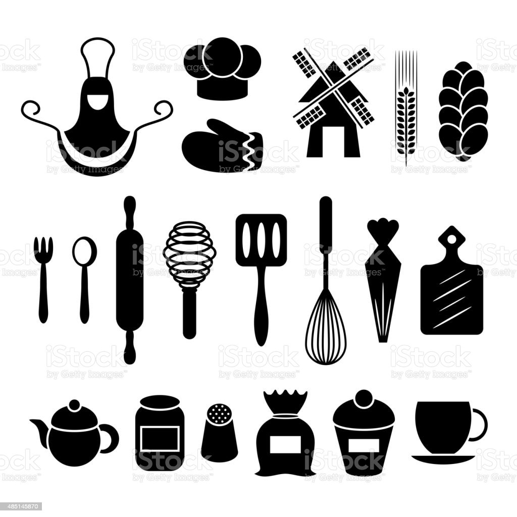 Kitchen tools drawing - Baking Kitchen Tools Silhouettes Set Royalty Free Stock Vector Art