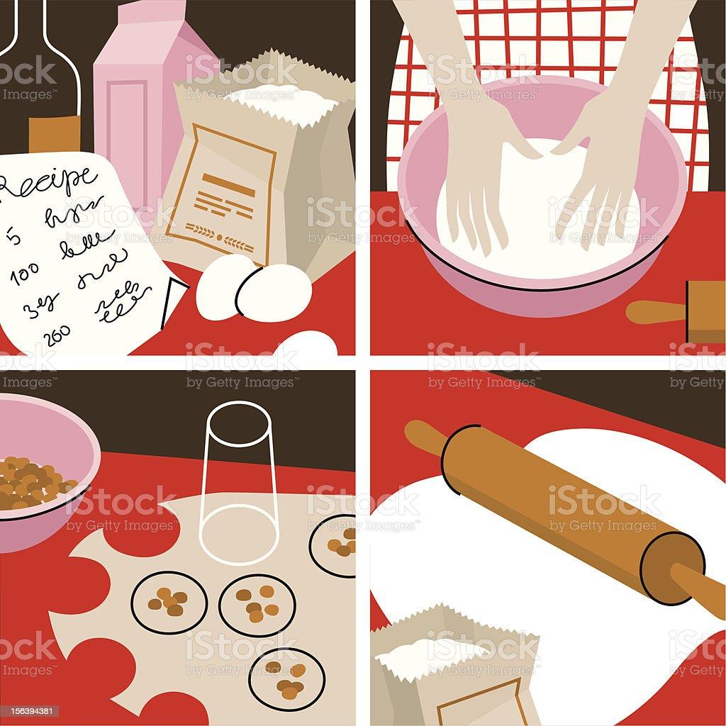 Baking of Rolls. vector art illustration