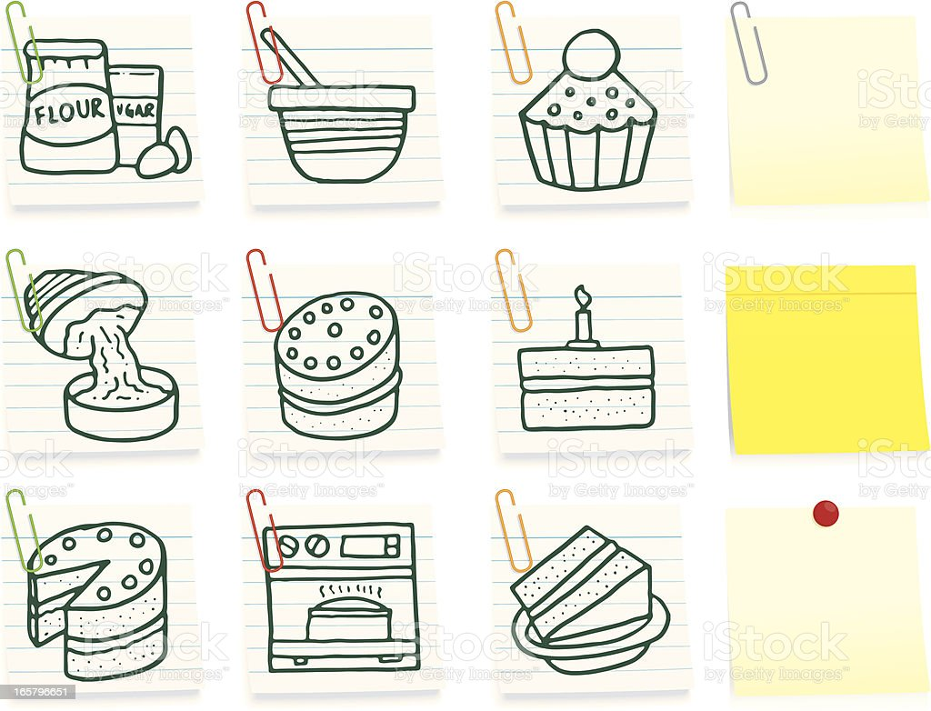 Baking post it note icon set royalty-free stock vector art