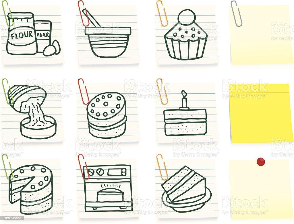 Baking post it note icon set vector art illustration
