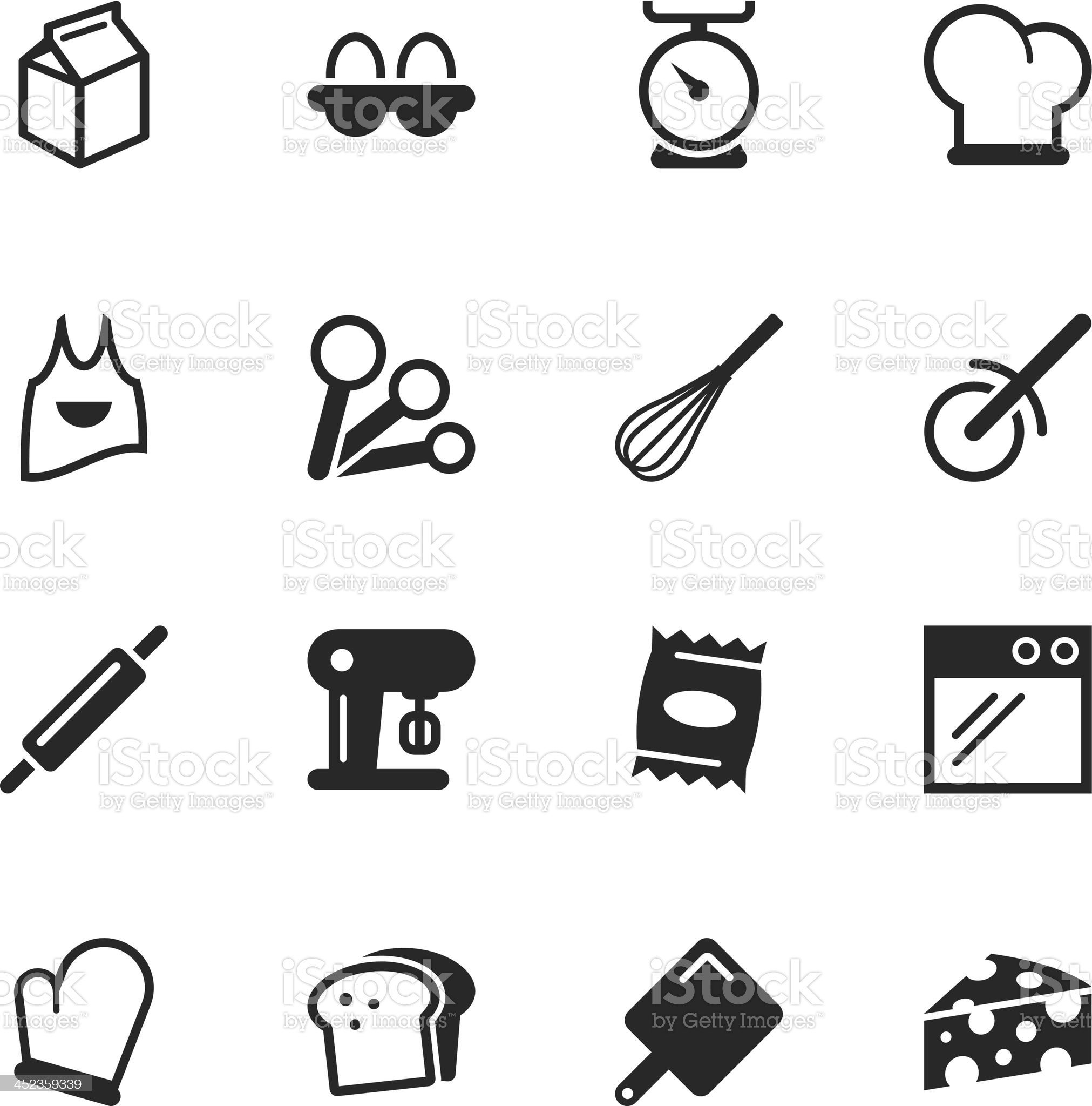 Baking Silhouette Icons royalty-free stock vector art