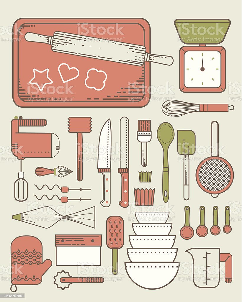 Baking utensils vector art illustration