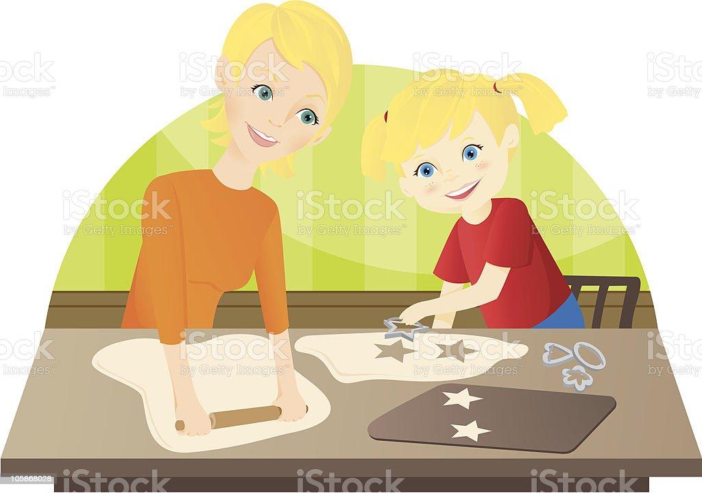 Baking with Mom vector art illustration