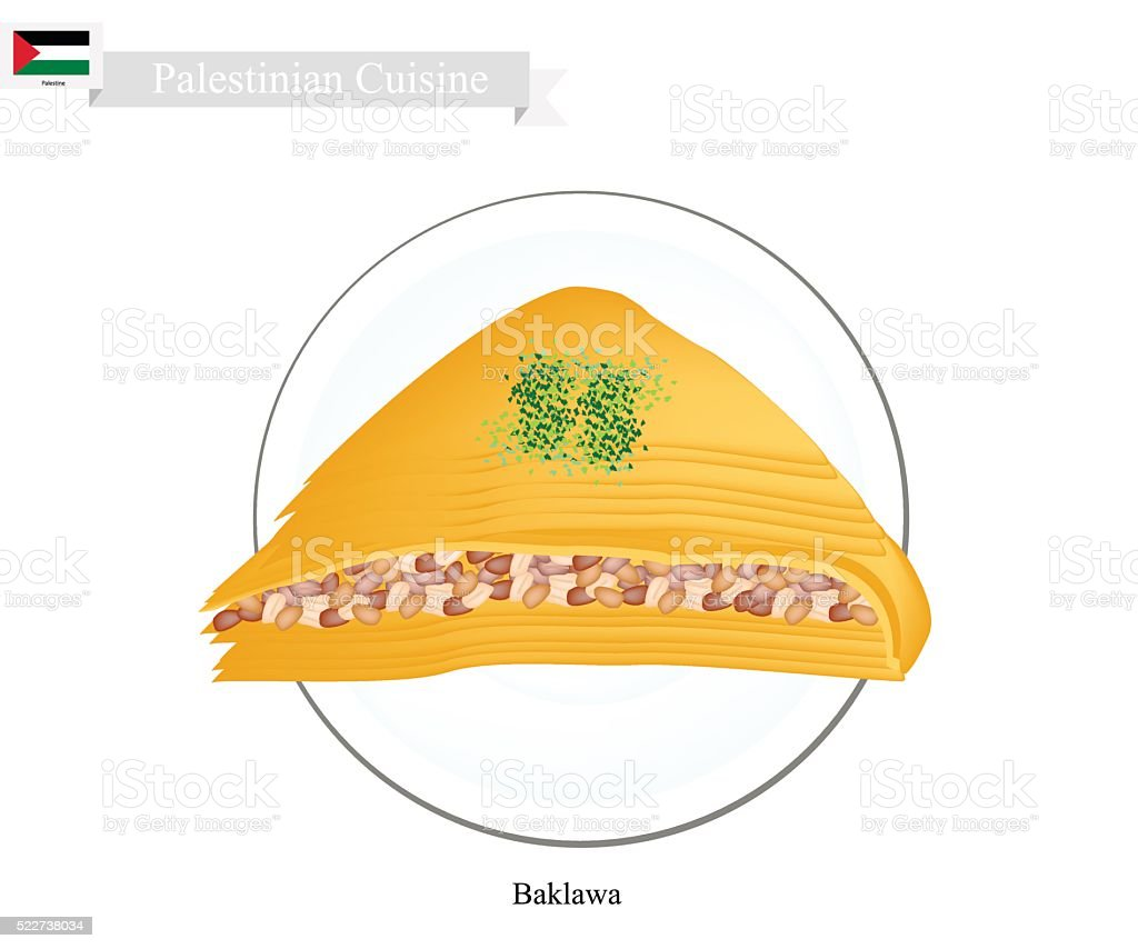 Baklava or Palestinian Cheese Pastry with Syrup vector art illustration
