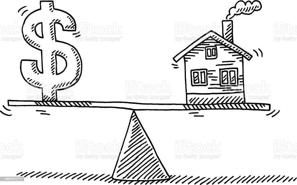 Balance Concept Money Real Estate Drawing vector art illustration