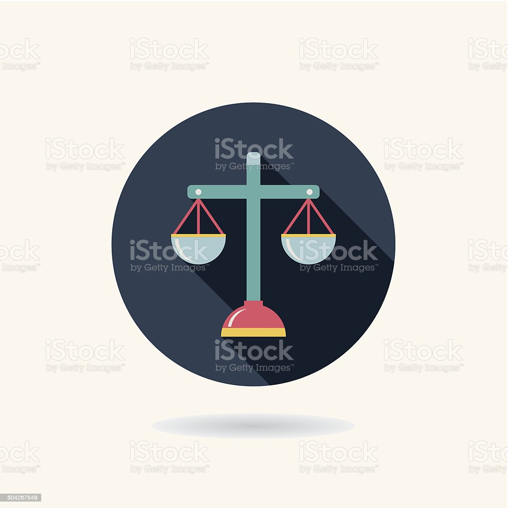 Balance Flat style Icon with long shadows vector art illustration