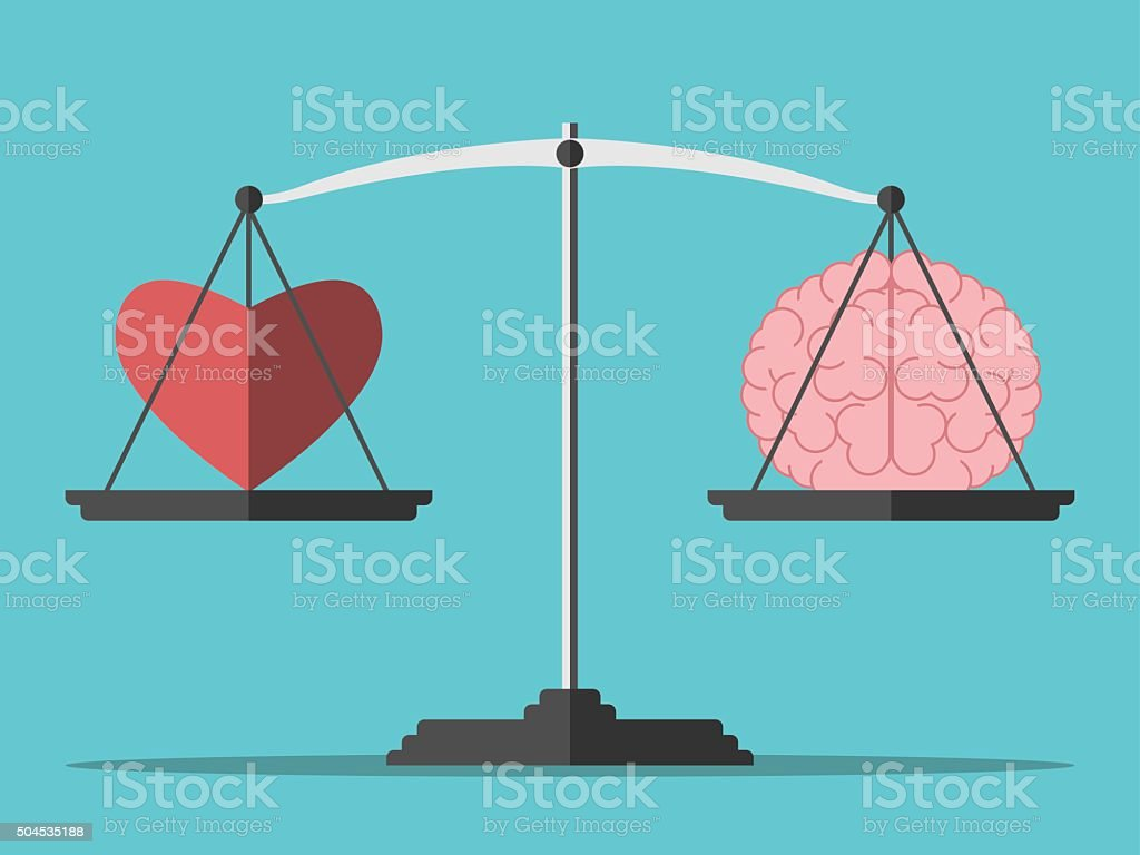 Balance, heart and brain vector art illustration