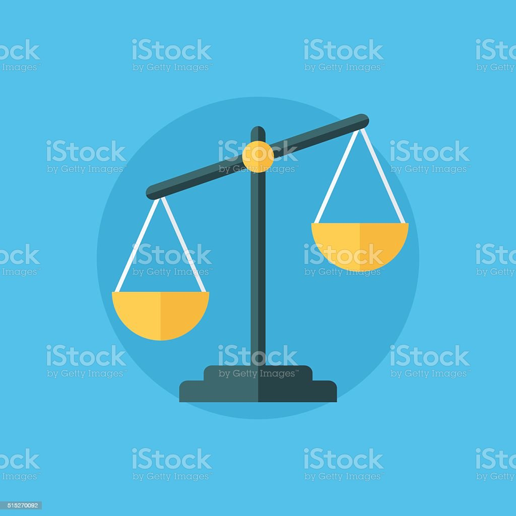 Balance icon. Law balance symbol. Justice scales icon. vector art illustration