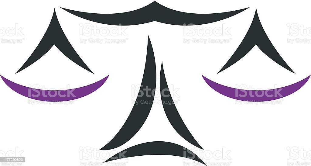 Balance scale concept of justice logo vector art illustration