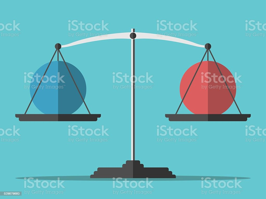 Balance weighing two spheres vector art illustration