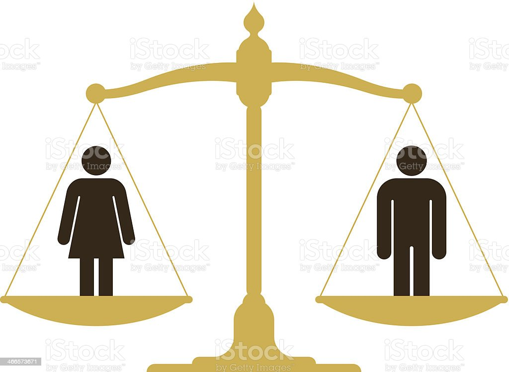 Balanced scale with a man and woman vector art illustration