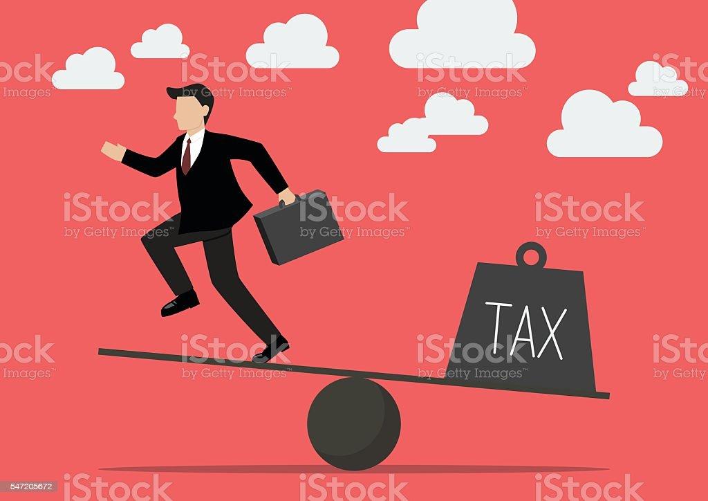 Balancing. Businessman and Tax vector art illustration
