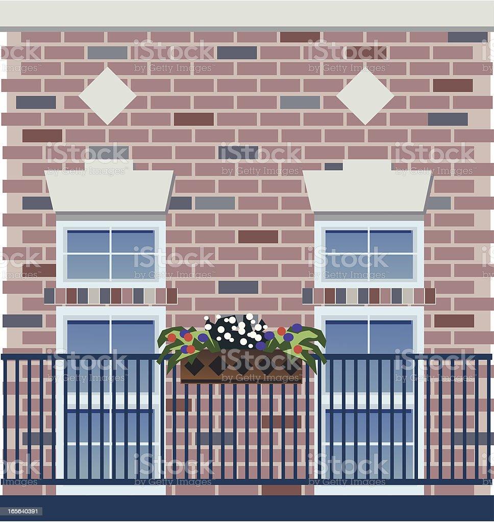 Balcony & Brick Wall royalty-free stock vector art