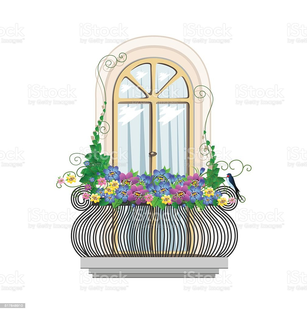 balcony with flowers vector art illustration
