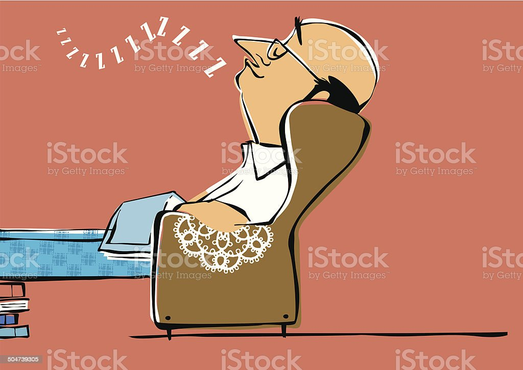 Bald bespectacled man falls asleep while reading. royalty-free stock vector art